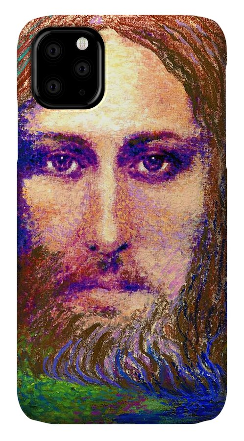 Love IPhone 11 Case featuring the painting Contemporary Jesus Painting, Chalice Of Life by Jane Small