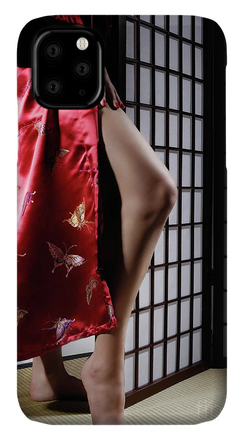 Asian IPhone Case featuring the photograph Asian Woman In Red Kimono by Maxim Images Prints