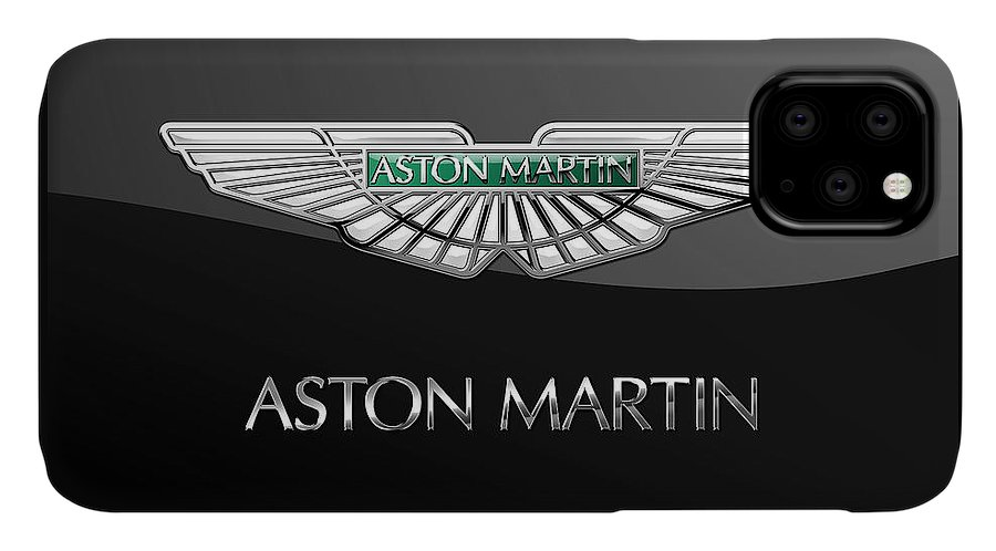 'wheels Of Fortune� Collection By Serge Averbukh IPhone Case featuring the photograph Aston Martin 3 D Badge On Black by Serge Averbukh