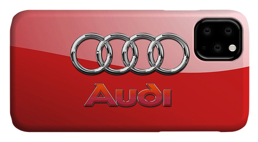 Wheels Of Fortune By Serge Averbukh IPhone 11 Case featuring the photograph Audi - 3D Badge on Red by Serge Averbukh
