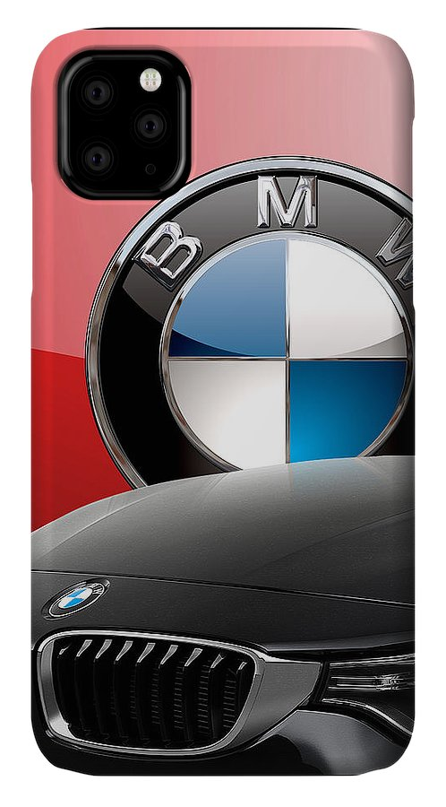 �auto Badges� Collection By Serge Averbukh IPhone Case featuring the photograph Black B M W - Front Grill Ornament and 3 D Badge on Red by Serge Averbukh