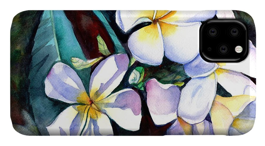 Plumeria IPhone Case featuring the painting Evening Plumeria by Marionette Taboniar