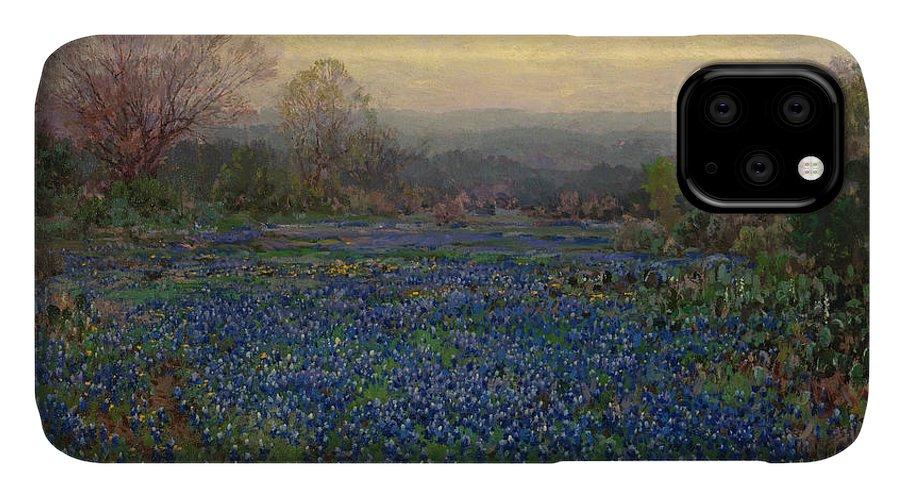 Blue Bonnets IPhone Case featuring the painting Field Of Bluebonnets by Julian Onderdonk