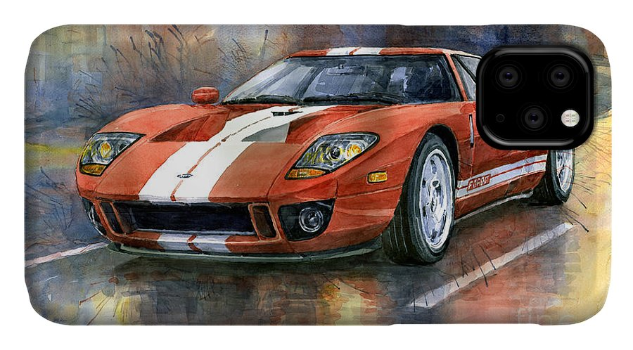 Watercolor IPhone Case featuring the painting Ford Gt 40 2006 by Yuriy Shevchuk