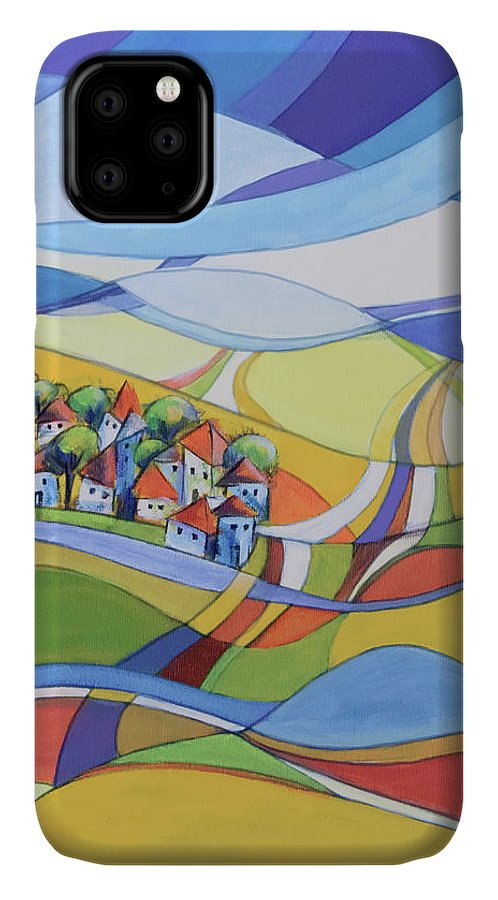 Landscape IPhone 11 Case featuring the painting Houses Along The River by Aniko Hencz