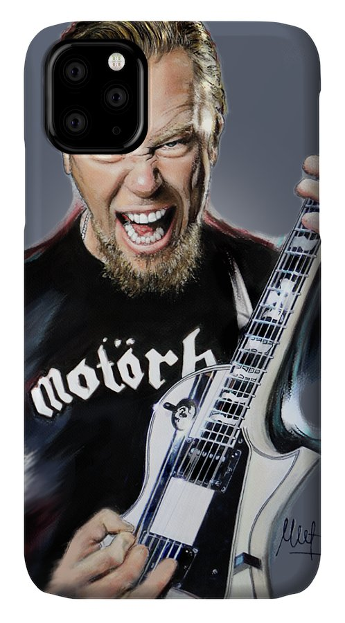 James Hetfield IPhone Case featuring the painting James Hetfield by Melanie D