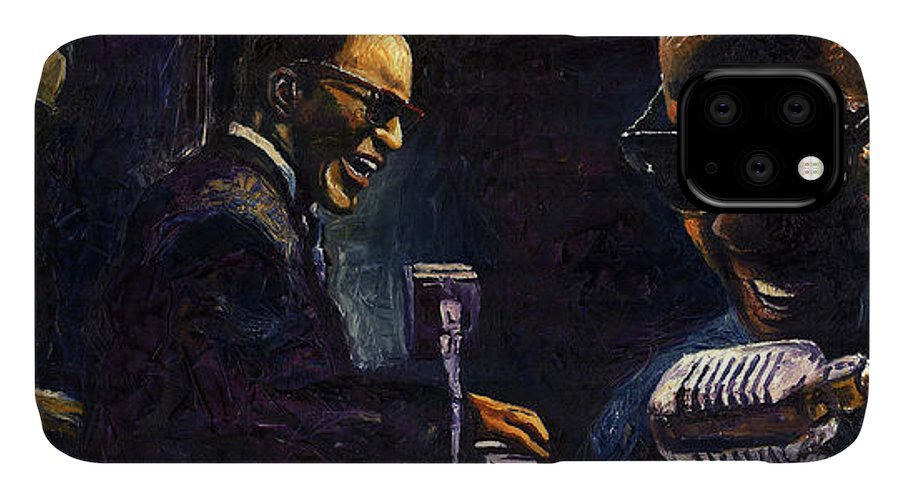 Jazz IPhone 11 Case featuring the painting Jazz Ray Charles by Yuriy Shevchuk