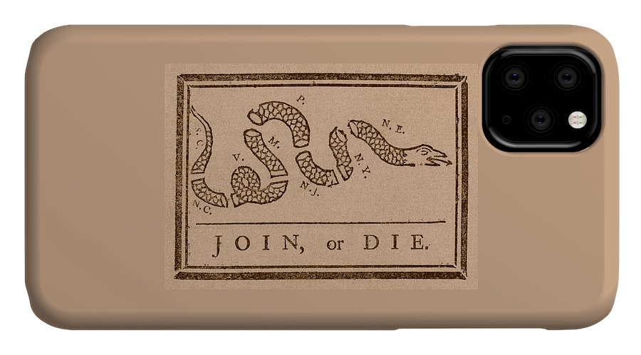 Join Or Die IPhone 11 Case featuring the mixed media Join Or Die by War Is Hell Store
