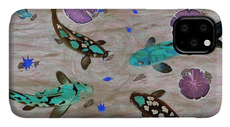 Koi Fish IPhone Case featuring the painting Koi Fish Feng Shui by Georgeta Blanaru