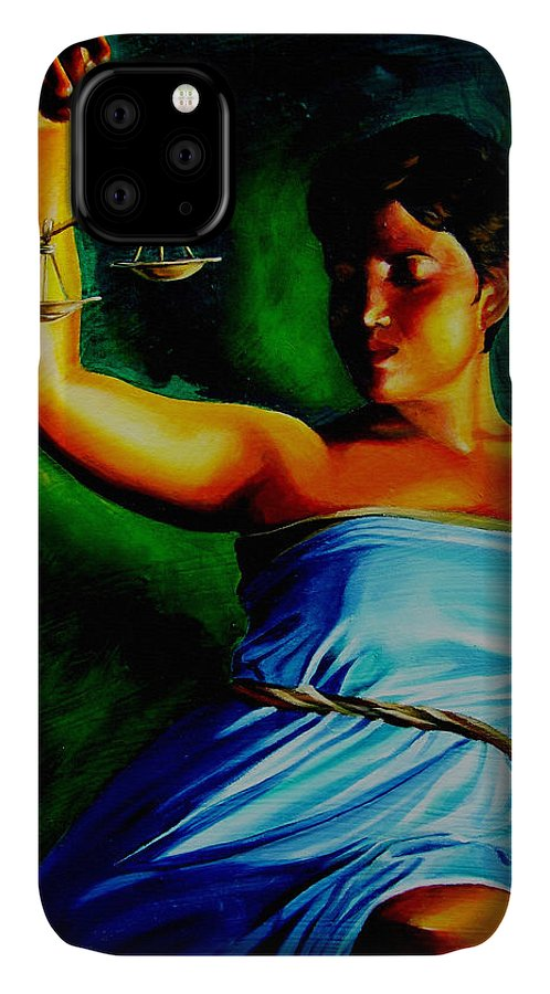 Law Art IPhone Case featuring the painting Lady Justice by Laura Pierre-Louis
