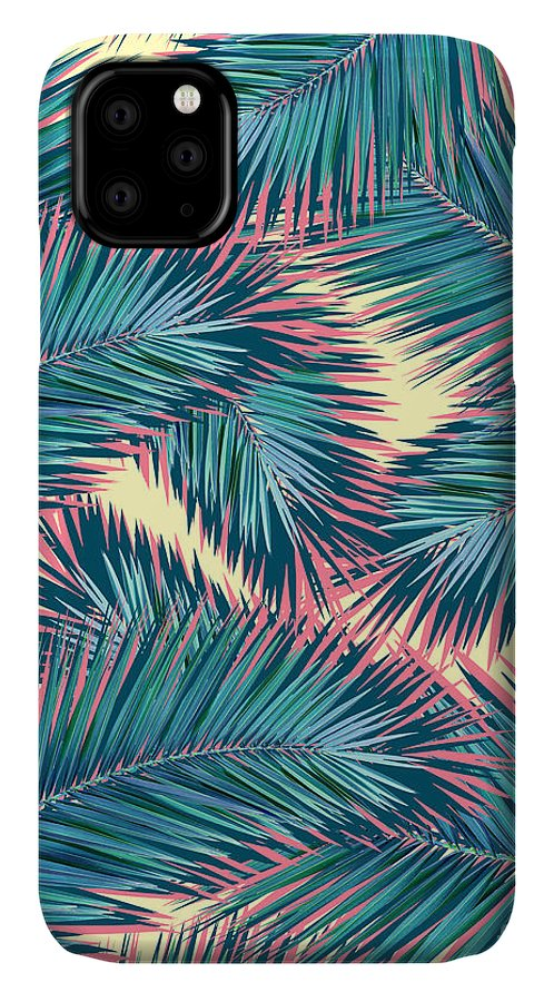 Summer IPhone Case featuring the digital art Palm Trees by Mark Ashkenazi