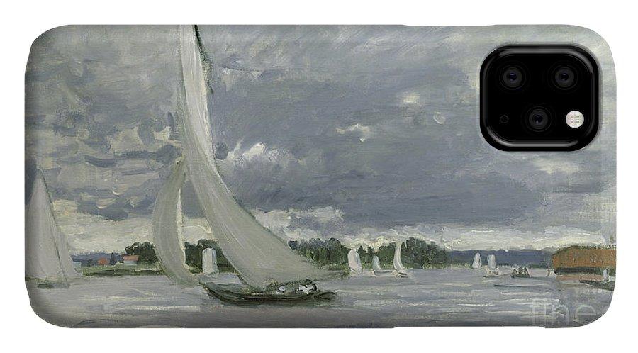 Regatta IPhone Case featuring the painting Regatta At Argenteuil by Claude Monet