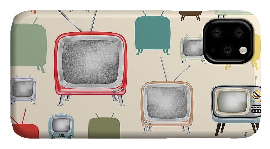 Analog IPhone Case featuring the painting retro TV pattern by Setsiri Silapasuwanchai