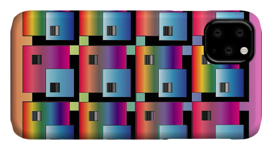 Abstract IPhone Case featuring the digital art Squares by George Pasini