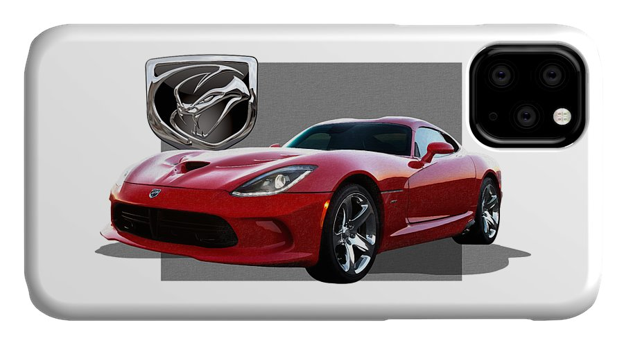 'dodge Viper' By Serge Averbukh IPhone Case featuring the photograph S R T Viper with 3 D Badge by Serge Averbukh