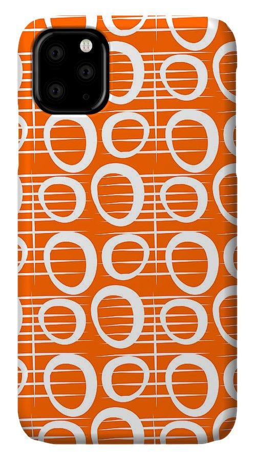 Orange IPhone 11 Case featuring the mixed media Tangerine Loop by Linda Woods