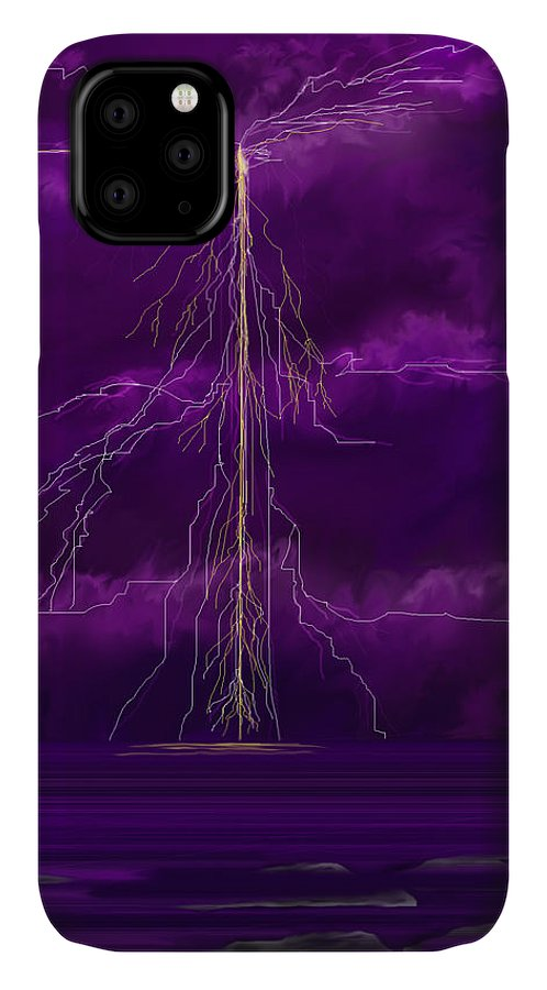 Lightning Storm IPhone Case featuring the painting Tesla by Anne Norskog