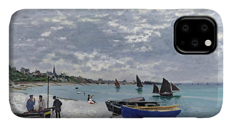 Coastal;french;rowing Boat;sailing;sainte Adresse; Boats IPhone Case featuring the painting The Beach At Sainte Adresse 1 by Claude Monet