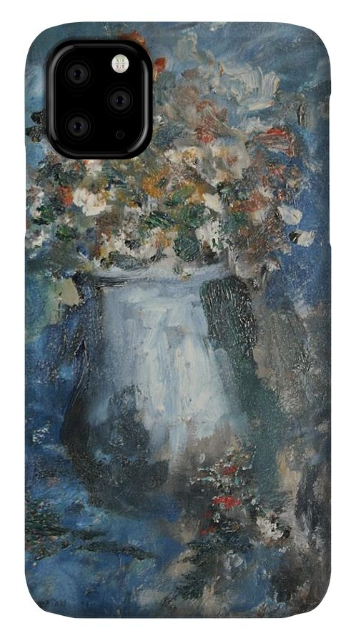 Still Life IPhone 11 Case featuring the painting The Blue Vase by Edward Wolverton