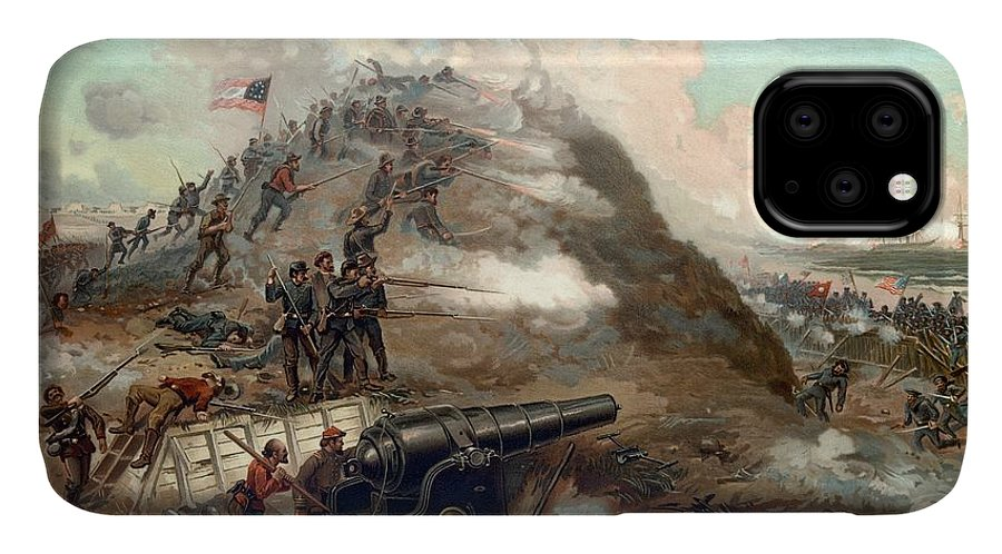 Civil War IPhone Case featuring the painting The Capture Of Fort Fisher by War Is Hell Store