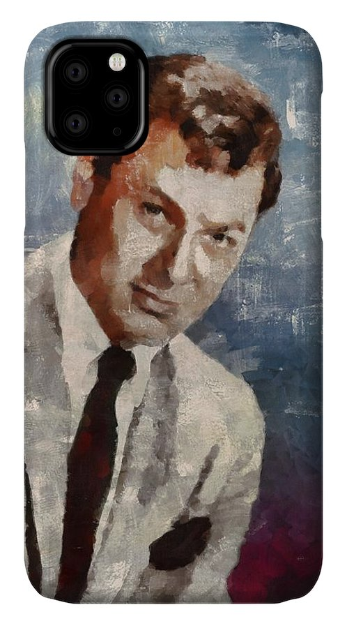 Tony IPhone 11 Case featuring the painting Tony Curtis Vintage Hollywood Actor 5 by Mary Bassett