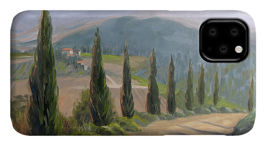 Landscape IPhone Case featuring the painting Tuscany Road by Jay Johnson