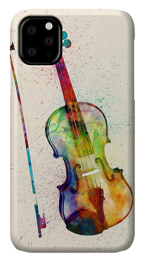 Musical Instrument IPhone Case featuring the digital art Violin Abstract Watercolor by Michael Tompsett