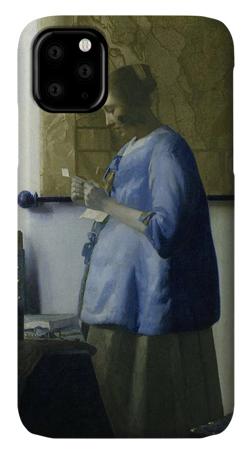Jan Vermeer IPhone 11 Case featuring the painting Woman Reading A Letter by Jan Vermeer
