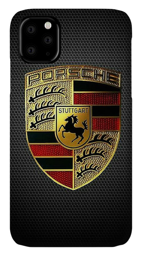 Porsche Logo IPhone Case featuring the digital art Porsche Logo by Max Dedrick