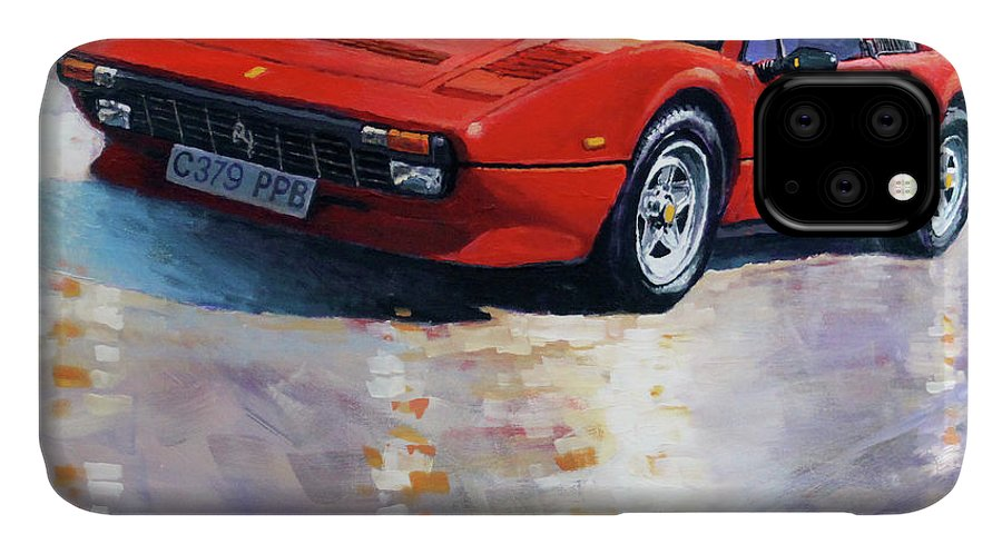 Oil On Canvas IPhone Case featuring the painting 1982-1985 Ferrari 308 Gts by Yuriy Shevchuk