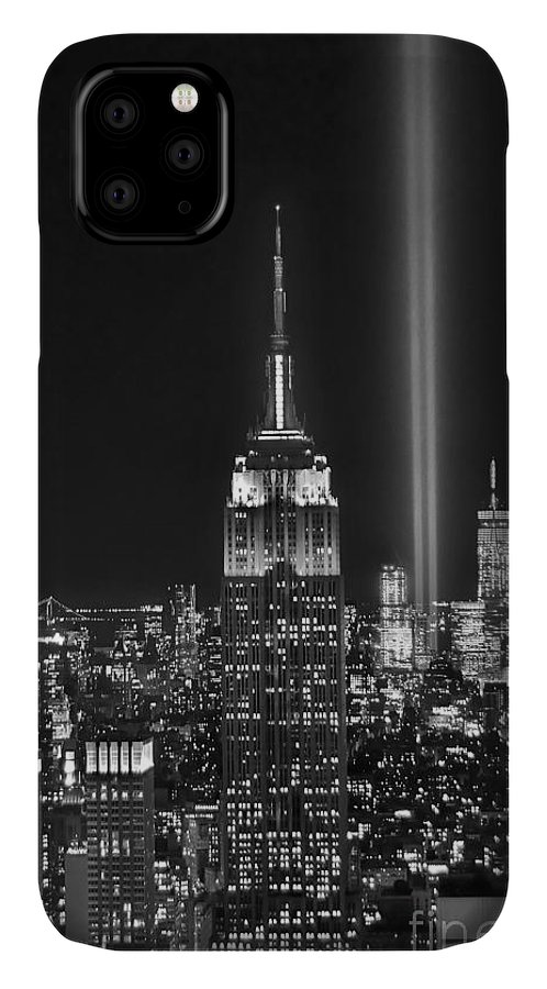 New York City Skyline At Night IPhone 11 Case featuring the photograph New York City Tribute In Lights Empire State Building Manhattan At Night Nyc by Jon Holiday