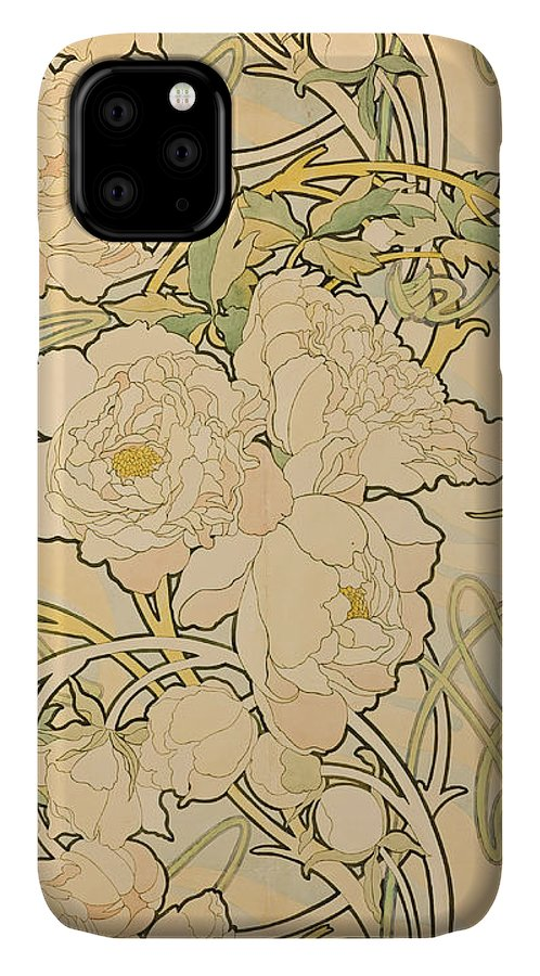 Alphonse Mucha IPhone Case featuring the painting Peonies by Alphonse Mucha