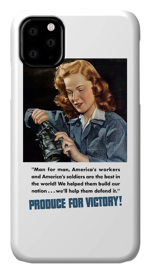 World War Ii IPhone Case featuring the painting Produce For Victory by War Is Hell Store
