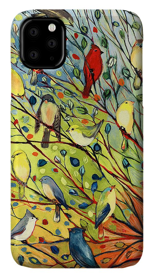 Bird IPhone Case featuring the painting 27 Birds by Jennifer Lommers