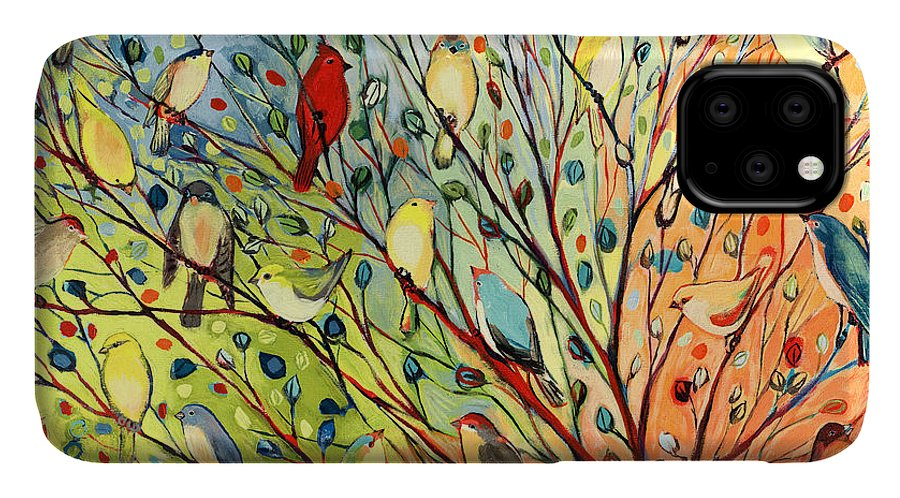 Bird IPhone 11 Case featuring the painting 27 Birds by Jennifer Lommers