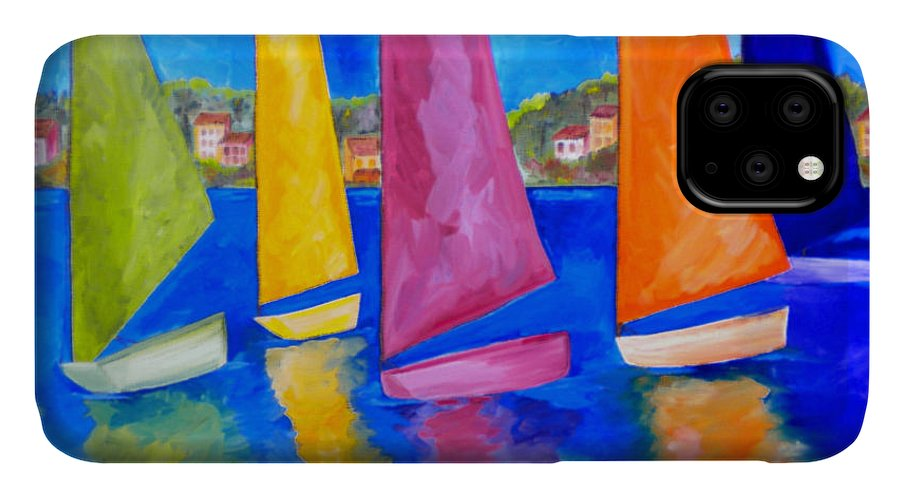 Usvi IPhone 11 Case featuring the painting Reflections Of Tortola by Patti Schermerhorn