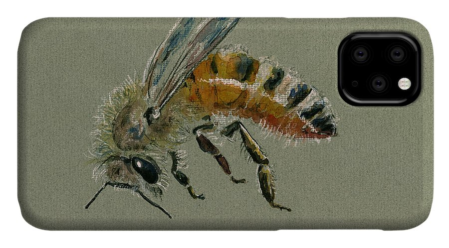 Honey Bee IPhone Case featuring the painting Honey bee watercolor painting by Juan Bosco