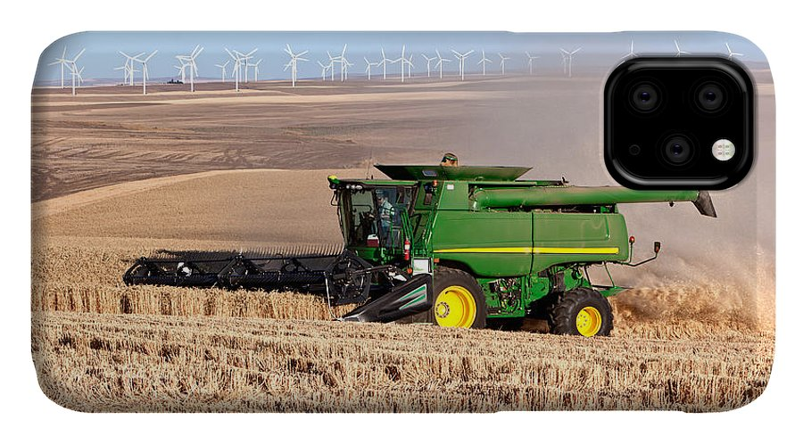 Agriculture IPhone Case featuring the photograph Combine Harvesting Wheat by Inga Spence