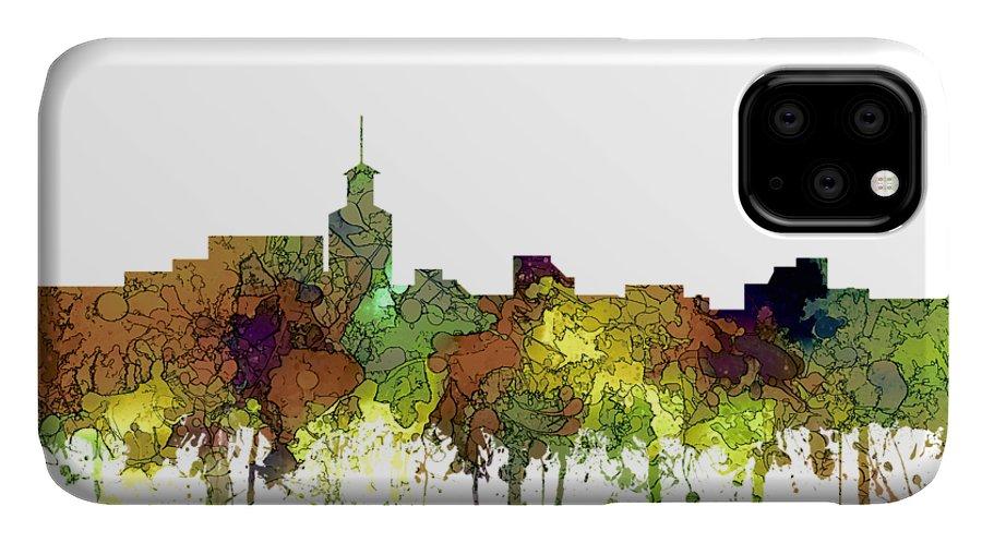 Santa Fe New Mexico Skyline IPhone 11 Case featuring the digital art Santa Fe New Mexico Skyline by Marlene Watson