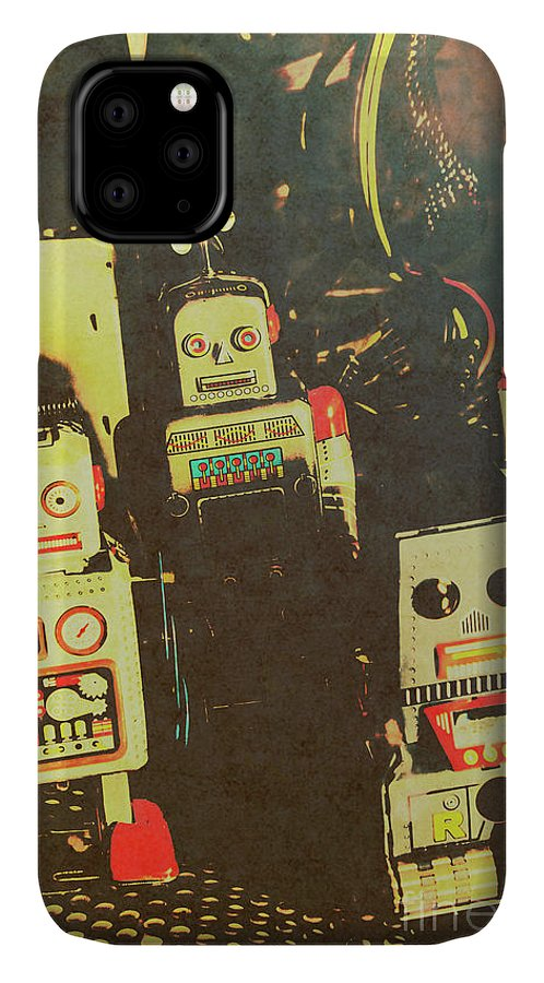 Cyborg IPhone 11 Case featuring the photograph 60s Cartoon Character Robots by Jorgo Photography - Wall Art Gallery