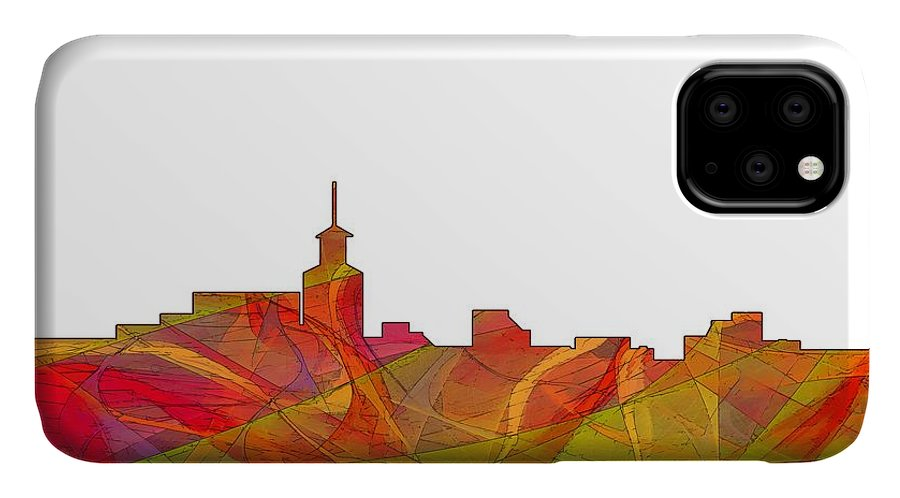 Santa Fe New Mexico Skyline IPhone Case featuring the digital art Santa Fe New Mexico Skyline 9 by Marlene Watson
