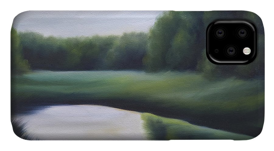 Nature; Lake; Sunset; Sunrise; Serene; Forest; Trees; Water; Ripples; Clearing; Lagoon; James Christopher Hill; Jameshillgallery.com; Foliage; Sky; Realism; Oils; Green; Tree IPhone Case featuring the painting A Day In The Life 3 by James Christopher Hill