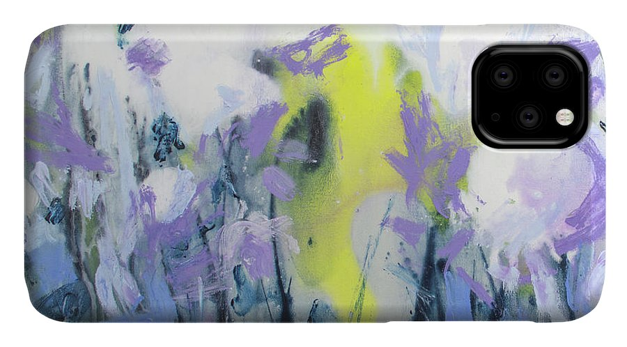 Abstract IPhone 11 Case featuring the painting A Patch Of Purple by Claire Desjardins