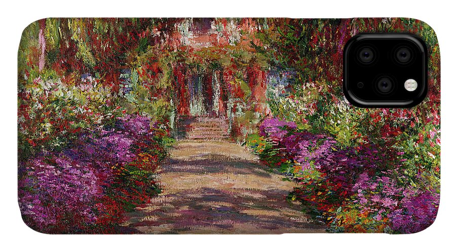 Pathway IPhone Case featuring the painting A Pathway In Monets Garden Giverny by Claude Monet