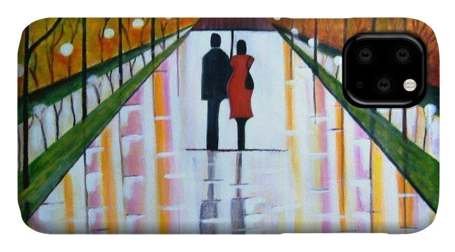 Romantic Painting Figures Romance Umbrella Rain Green Red Orange Grass People Lights Park Garden Tree Reflection Path Valentine Love IPhone Case featuring the painting A Rainy DayII by Manjiri Kanvinde