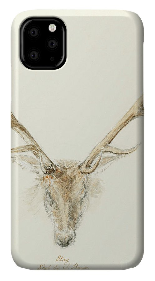Stag IPhone Case featuring the drawing A Stag Shot By John Brown by Queen Victoria