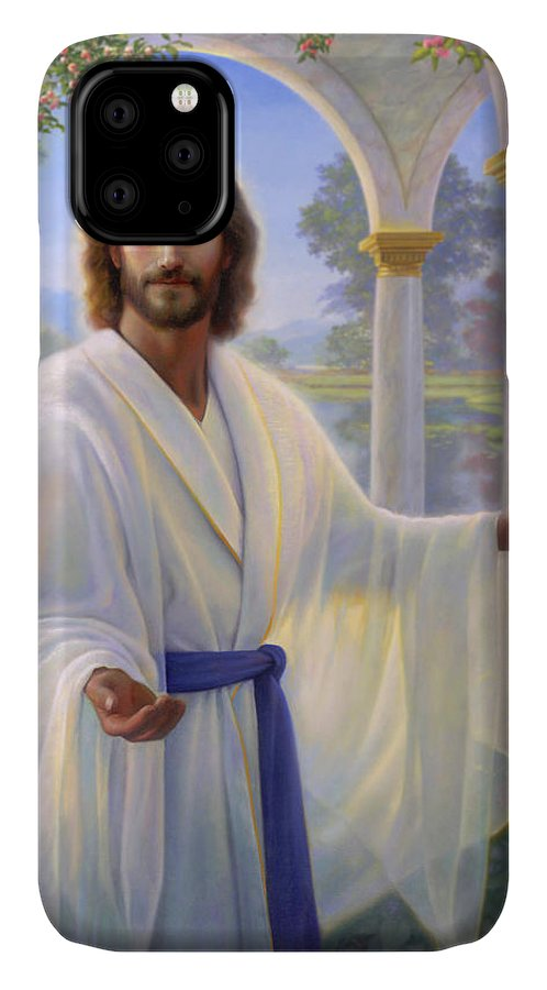 Jesus IPhone 11 Case featuring the painting Abide With Me by Greg Olsen