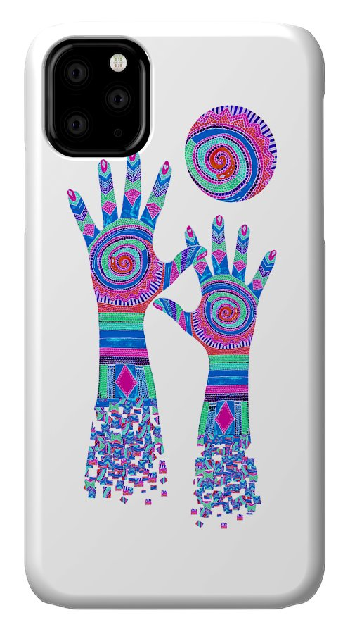 Aboriginal Hands IPhone Case featuring the digital art Aboriginal Hands Pastel Transparent Background by Barbara St Jean
