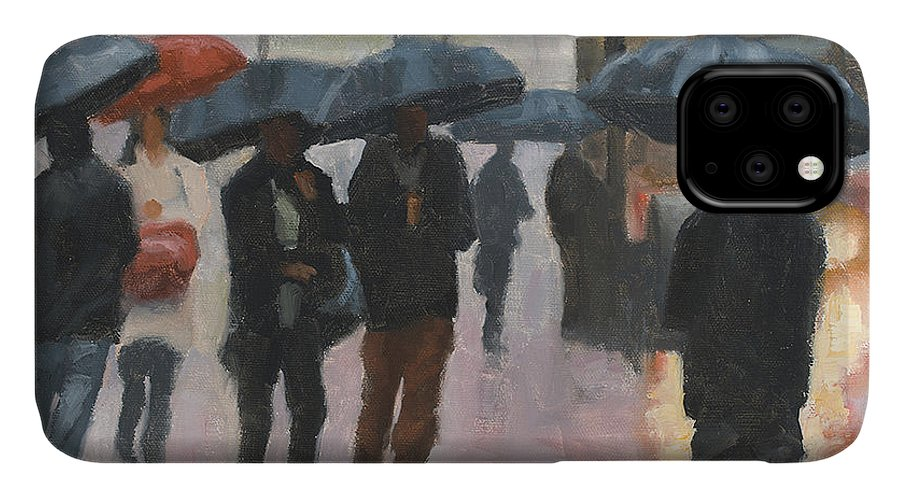 Rain IPhone 11 Case featuring the painting About Town by Tate Hamilton