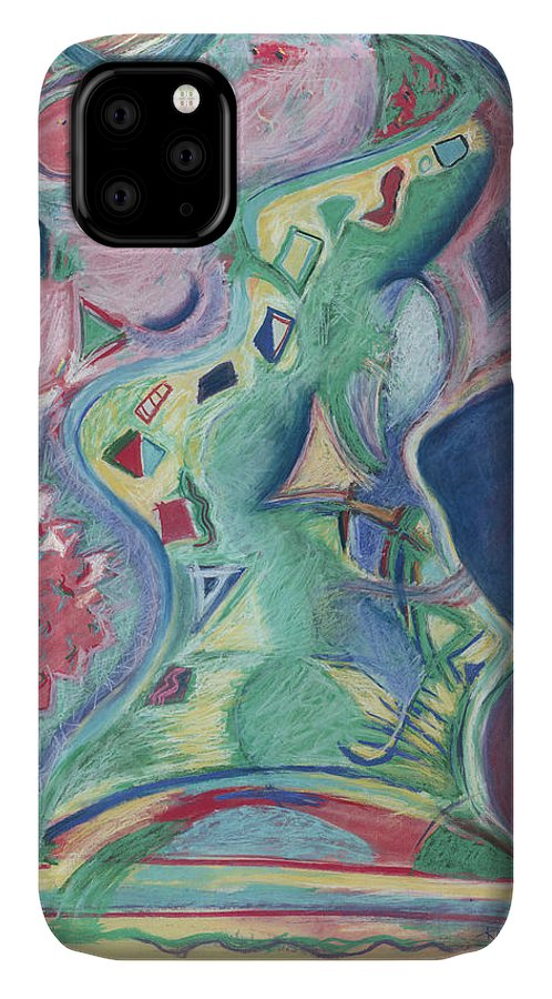Abstract IPhone 11 Case featuring the painting Abstract 92 - Inner Landscape by Kerryn Madsen- Pietsch